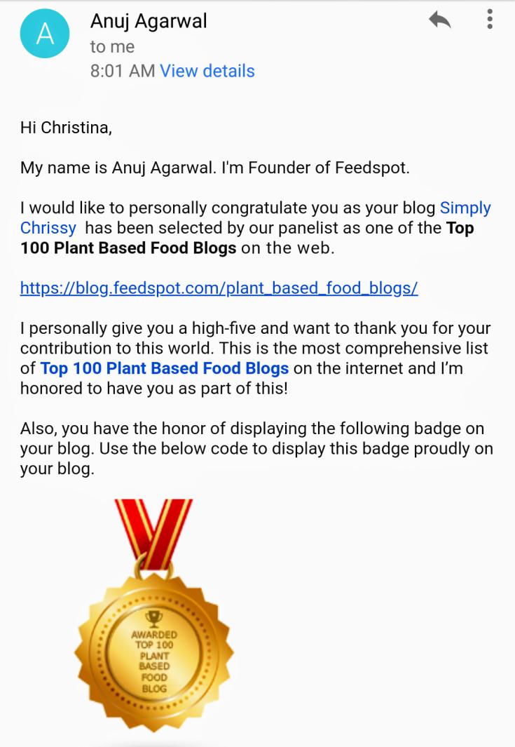 FeedSpot Top 100 Plant-Based Blog Award